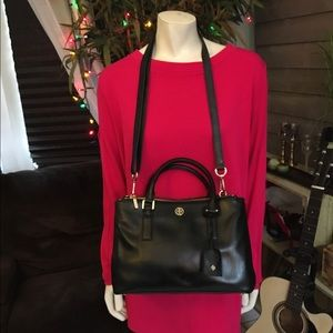 Tory Burch Black Leather Double Zip Robinson Bag